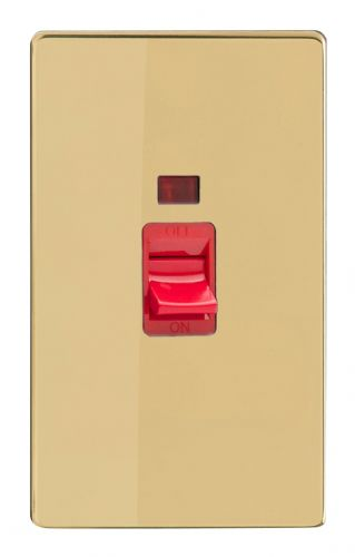 Varilight XDV45NS Screwless Polished Brass 45A DP Cooker Switch Vertical Twin Plate + Neon